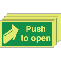 Six-pack fire exit door Nite-Glo push to open signs