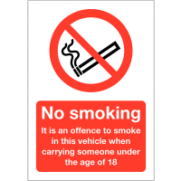 No Smoking in vehicle with anyone under 18