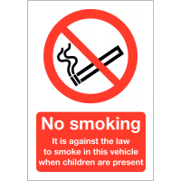 No Smoking in Vehicle with Children Signs