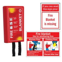 Fire Blanket Kit with Safety Signs