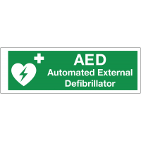 Double-sided corridor signs for quick AED equipment locating