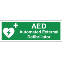 Durable plastic double-sided hanging AED sign