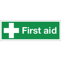 Double-sided hanging sign for first aid