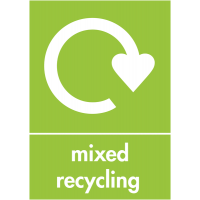 Double-sided rigid plastic 'mixed recycling' sign