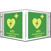 Photo-luminescent Xtra-Glo AED Projecting Sign