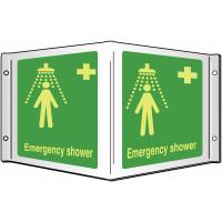 Photoluminescent Xtra-Glo Emergency Shower 3D Sign