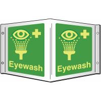 Eye Wash Facilities Projecting 3D Sign with Xtra-Glo Photoluminescence