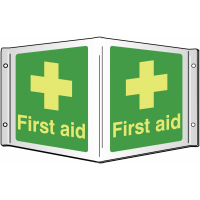 Photoluminescent, 3D first aid projecting wall sign