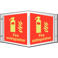 Photoluminescent Xtra-Glo 'Fire extinguisher' 3D projecting wall sign
