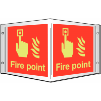 Photoluminescent Xtra-Glo 'Fire point' 3D projecting wall sign