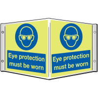 Eye Protection Must Be Worn' 3D Sign With Xtra-Glo Photoluminescence