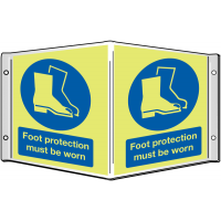 """Foot Protection Must Be Worn"" Mandatory PPE Photoluminescent Projecting Sign with Xtra-Glo"