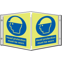 Head Protection Must Be Worn' Projecting Glow-In-The-Dark Sign