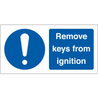 Self-Adhesive 'Remove Keys From Ignition' Safety Labels