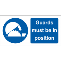 Guards Must Be In Position' Self-Adhesive Vinyl Safety Labels