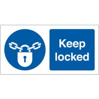 Self-adhesive Vinyl 'Keep Locked' Safety Labels