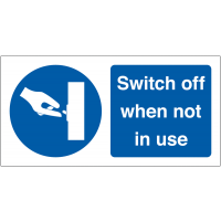 Switch Off When Not In Use' Self-Adhesive Vinyl Labels