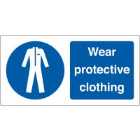 Wear Protective Clothing' Self-Adhesive Vinyl Labels