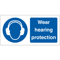 Wear Hearing Protection' Self-Adhesive Vinyl Labels