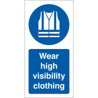 Roll Of 'Wear High Visibility Clothing' Vinyl Safety Labels