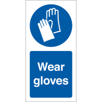 Self-adhesive 'Wear Gloves' Vinyl Safety Labels