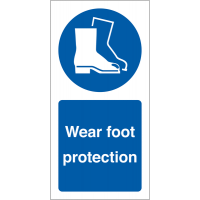 Vinyl Safety Labels Requesting The Wearing Of Foot Protection