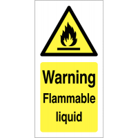 Bright Warning Flammable Liquid Vinyl Safety Labels On A Roll