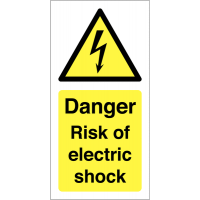 Vinyl labels alerting to electric shock risk