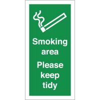 Self-adhesive Vinyl 'Smoking Area Please Keep Tidy' Labels