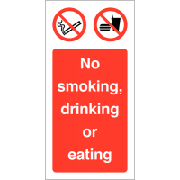 No Smoking, Eating or Drinking' Self-Adhesive Vinyl Labels