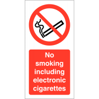 No Smoking Including Electronic Cigarettes' Self-Adhesive Vinyl Labels