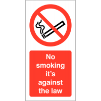 No Smoking – It's Against the Law' Self-Adhesive Vinyl Labels