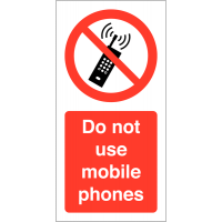 Self Adhesive 'Do Not Use Mobile Phones' Warning Labels On A Roll