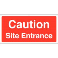 'Caution Site Entrance' Construction Site Safety Banner Sign