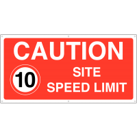 All-Weather 'Caution Site Speed Limit 10 mph' Banner