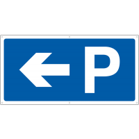 Parking banner signs with left-pointing arrow