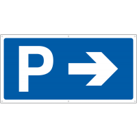 Parking symbol and right-facing arrow banner sign