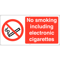 Banner Signs – No Smoking, Including Electronic Cigarettes