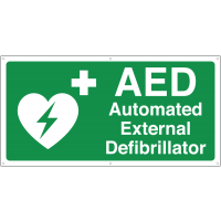 Highly-visible AED defibrillator banner sign