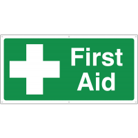 Large format first aid banner signs