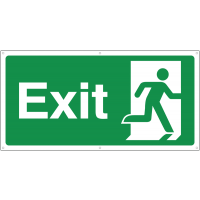 Right running man exit banner signs