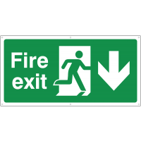 Fire exit running man with downward arrow banners