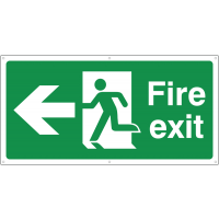 Fire exit signs with running man and left-facing arrow