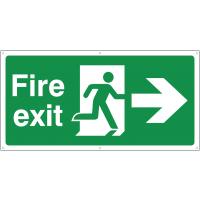 Temporary Fire Exit Running Man (Arrow Right) Signs