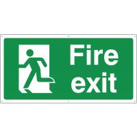 Running man left fire exit banner signs