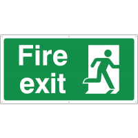 Running man right direction fire exit banner signs