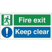 Fire exit keep clear dual message banner signs
