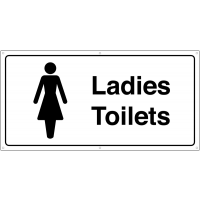 Black and White Ladies' Toilets Banner Signs