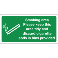 Large, high-quality smoking area keep tidy banner signs