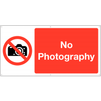 Large no photography banner signs